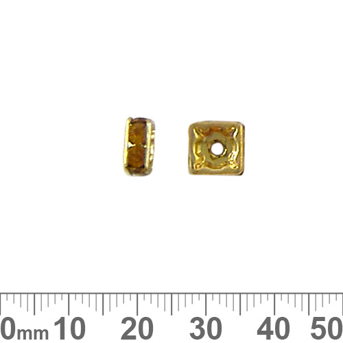 8mm Square Diamante Spacers (Gold/Amber)