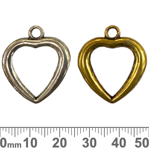 Large Open Heart Metal Charms