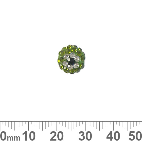 10mm Sparkly Green Eye Pave Bead