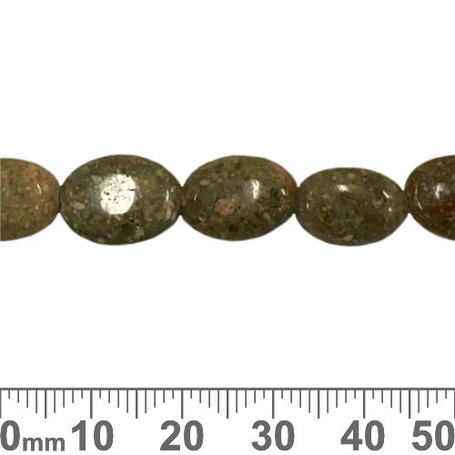 Unakite 13mm Flat Oval Beads