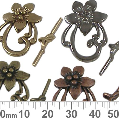 BULK Flower Toggle Clasps