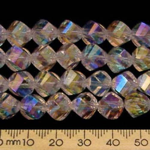 Crystal Clear AB 9mm Helix Glass Crystal Strands