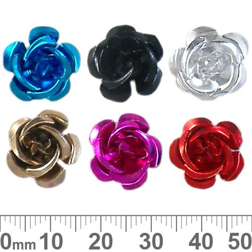 15mm Colourful Metal Rose