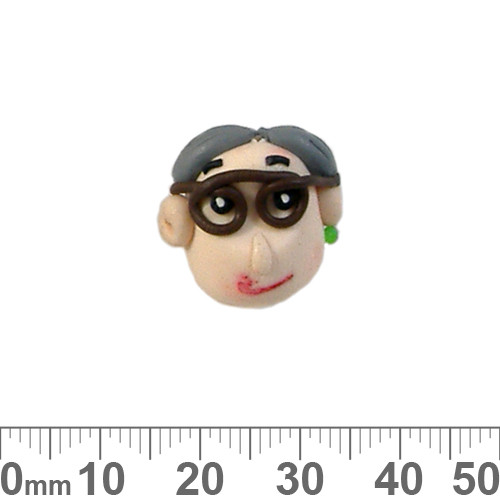 Old Lady Head Clay Beads