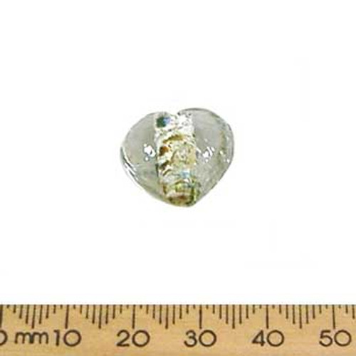 Clear/Green Silver Foil Heart Beads