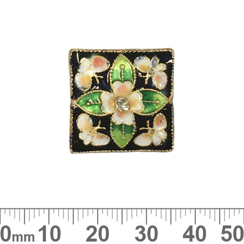 20mm Black Flat Square Cloisonne Beads