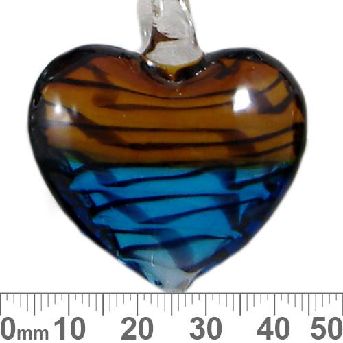 Brown/Blue Heart Glass Pendant