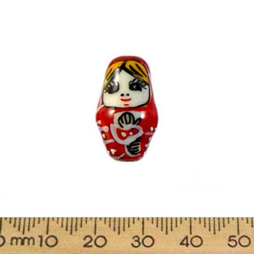 Red Babushka Doll Ceramic Bead