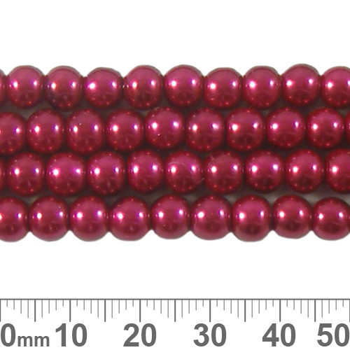 6mm Deep Red Glass Pearl Strands