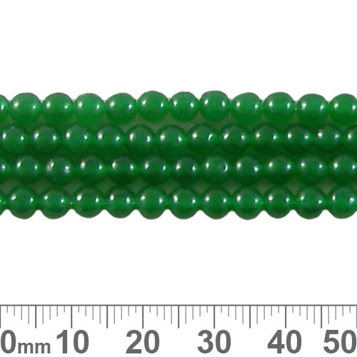 Dyed Green Chalcedony 4mm Round Beads