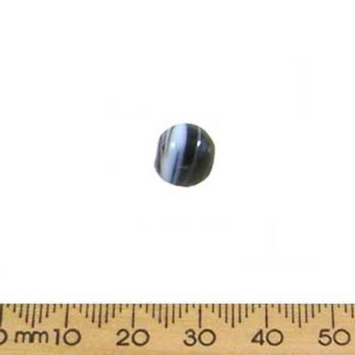 Black/Blue Opaque Round Glass Beads