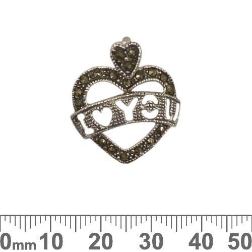 Marcasite Heart Sterling Silver Pendant