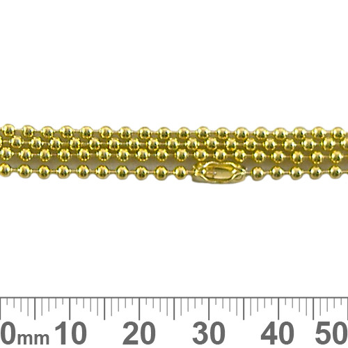 2mm Ball Chain - Bright Gold