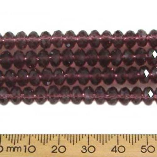 Dark Rose Purple 6mm Rondelle Glass Crystal Strands