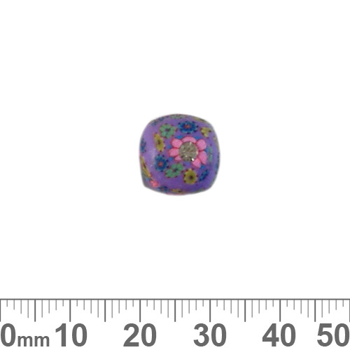 12mm Purple w Diamante Rounded Cube Clay Beads