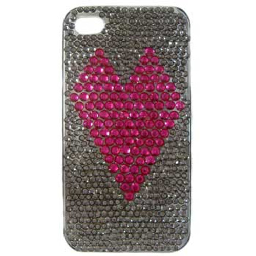 Pink Heart Diamante iPhone 4 Case Kit