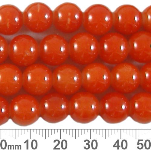 10mm Round Glossy Orange Glass Bead Strands
