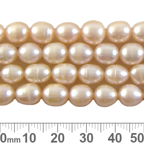 Medium Peach Rice Pearl Bead Strands 1