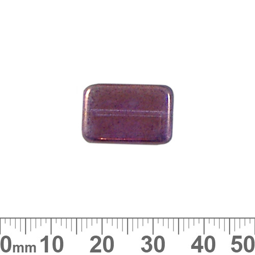 Metallic Amethyst 18mm Flat Rectangle Czech Glass Beads