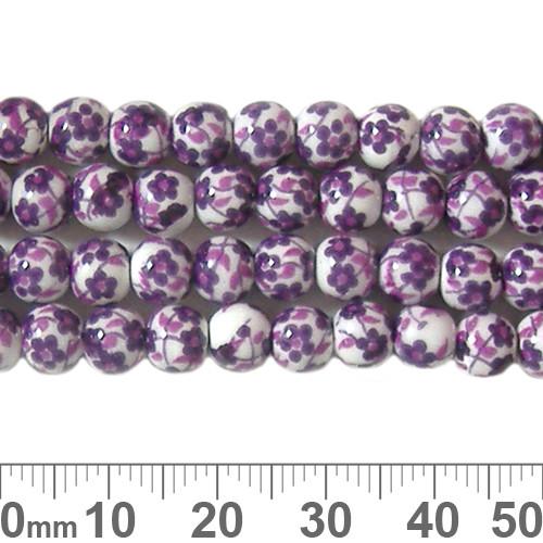 6mm Round Purple Sakura Ceramic Bead Strands