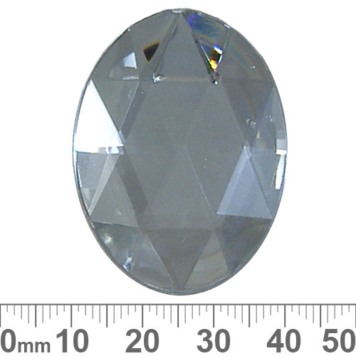 40mm Faceted Oval Plastic Diamante