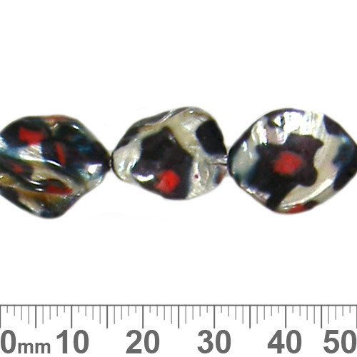 Red Leopard Print Round Disc Shell Bead Strands