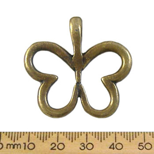 35mm Bronze Butterfly Outline Metal Pendant