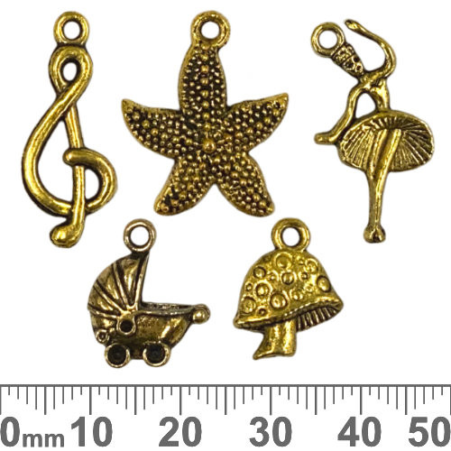 CLEARANCE Metal Charm Gold Mixed Pack - Fairy Fun