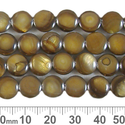 9mm Brown Flat Round Shell Bead Strands