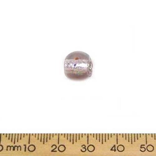 Medium Rose Silver Foil Round Beads