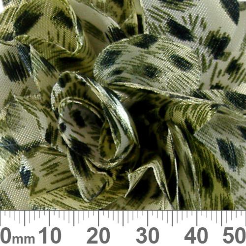 60mm Green Tinted Leopard Spot Fabric Flower