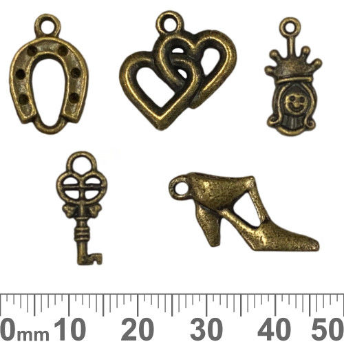 CLEARANCE Bronze Metal Charm Mixed Pack - Lucky Hearts