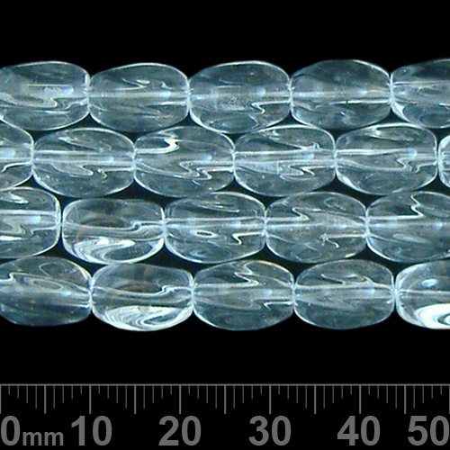 11mm Clear Flare Oval Glass Bead Strands