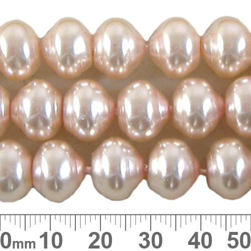 CLEARANCE 12mm Pale Peach Ringed Czech Glass Pearl Strands