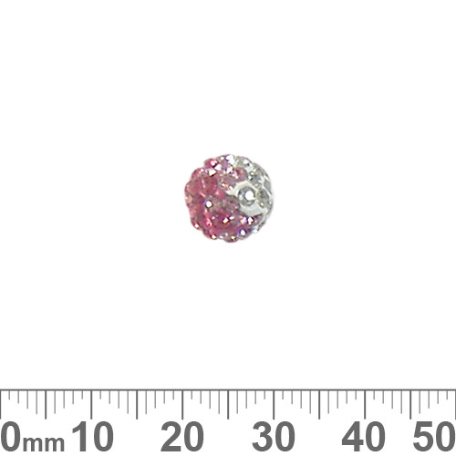 10mm Sparkly Transitional Pink/Clear Pave Bead