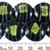 20mm Black w Yellow Green Foil Glass Disc Bead Strands