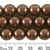 CLEARANCE 14mm Dark Brown Round Czech Glass Pearl Strands