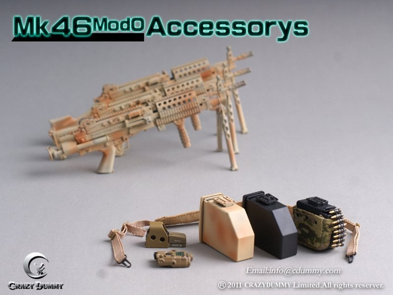 Black for Action Figure #CD-75002-1 CRAZY DUMMY 1//6 MK46 MOD1 Rifle Stock