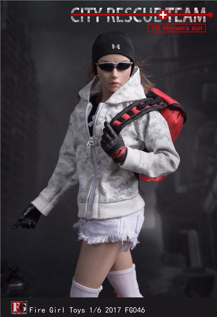 1//6 Fire Girl Toys Accessory FG046 Female City Rescue Team Suit Uniform Set
