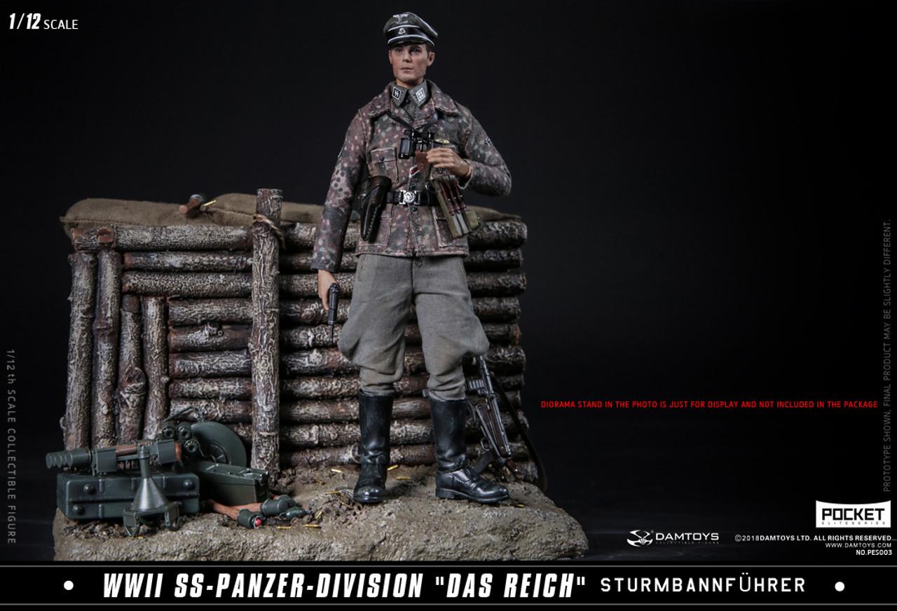 """DAM PES003 1//12 WWII SS-Panzer-Division /""""Das Reich/"""" Sturmbannführer Action Body"""