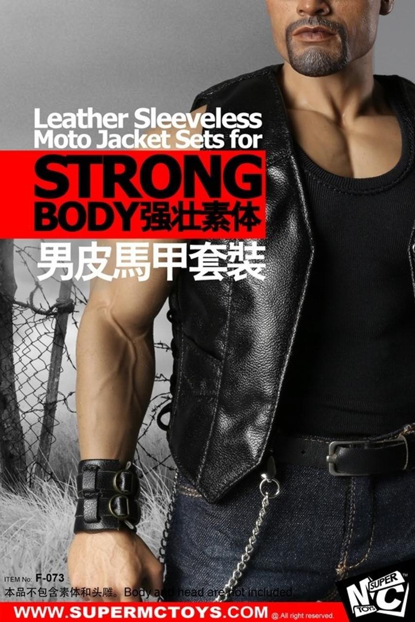 SuperMCTOYS 1//6 Leather Sleeveless Moto Jacket Sets for Strongbody F-073 USA