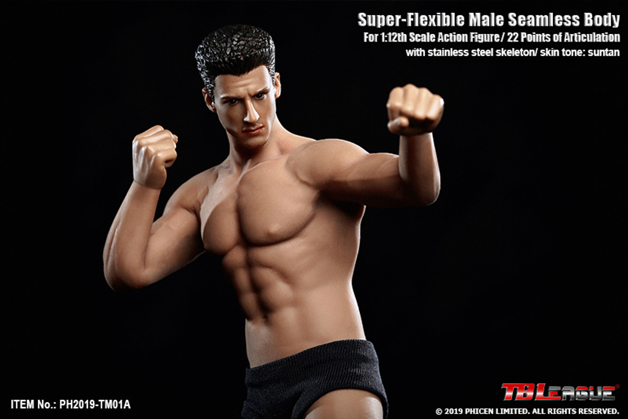TBLeague PL2018-M36 Super-Flexible Male Black Skin Seamless Body for 1//6 Figures