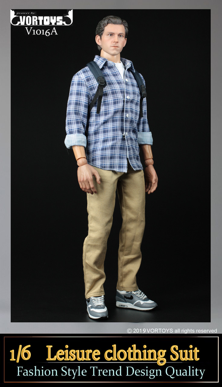 Chinos 1//6 Scale Toy Parker Field Trip Blue Plaid Shirt