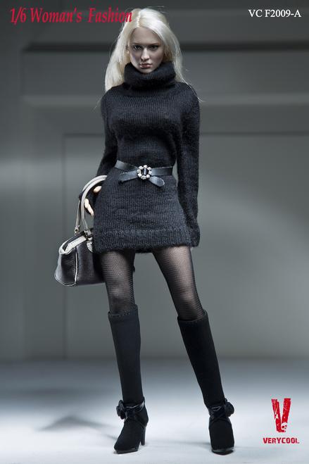 [VCF-2009A] Very Cool Turtleneck Mini Dress Clothing Set in Black