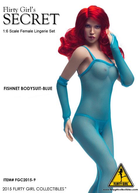 [FGC-2015-9] Flirty Girl Female Fishnet Bodysuit Set in Blue