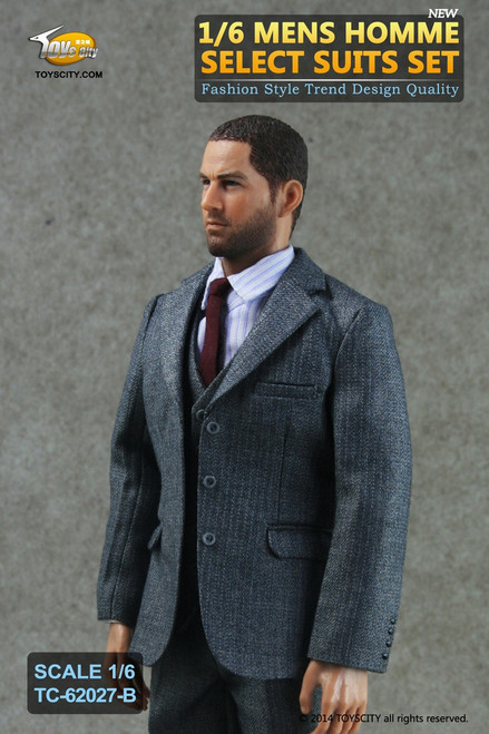 [TC-62027B] Toys City Mens Homme Select Suits in Grey Action Figure Clothing Set
