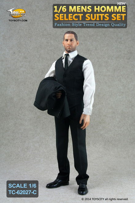 [TC-62027C] Toys City Mens Homme Select Suits in Black Action Figure Clothing Set