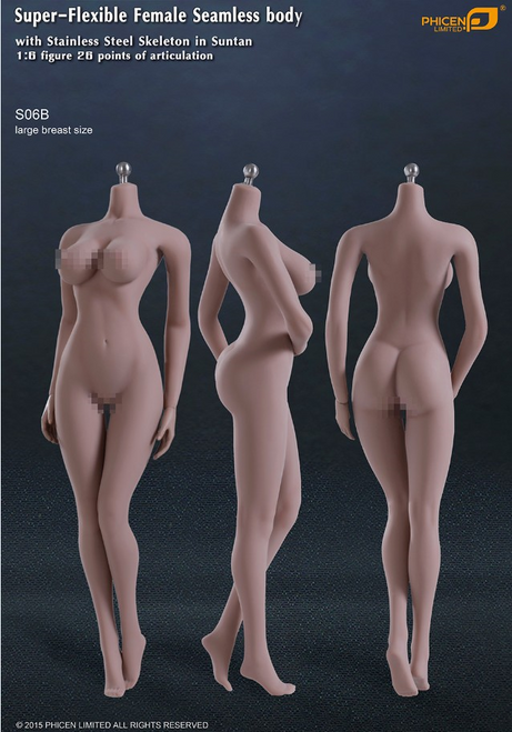 [PL-LB2015S06B] Phicen Limited Super-Flexible Female Seamless Large Breast Body with Stainless Steel Skeleton in Suntan