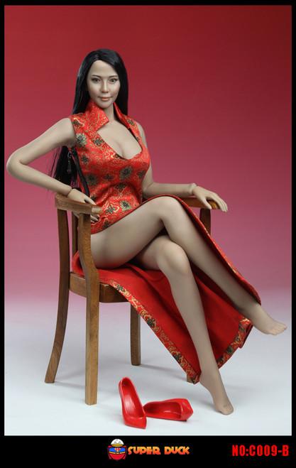 [SUD-C009B] Super Duck Cheongsam in Red 1:6 Female Doll Accessory