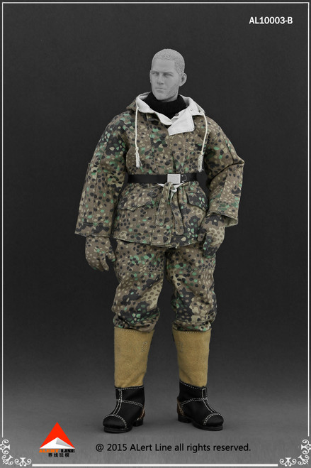 [AL-10003B] Alert Line WWII German SS & Wehrmacht Snow Reversible Cotton Padded Jacket in Pea Dot